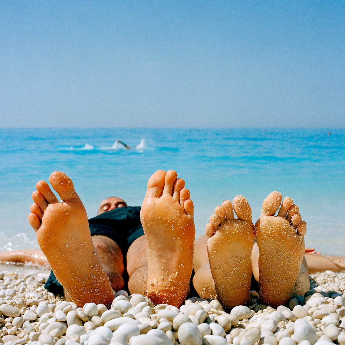 Beach, Feet, Pebbles, Greece